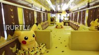 Japan: Gotta' catch them all - Pikachu train rolls into Ichinoseki station